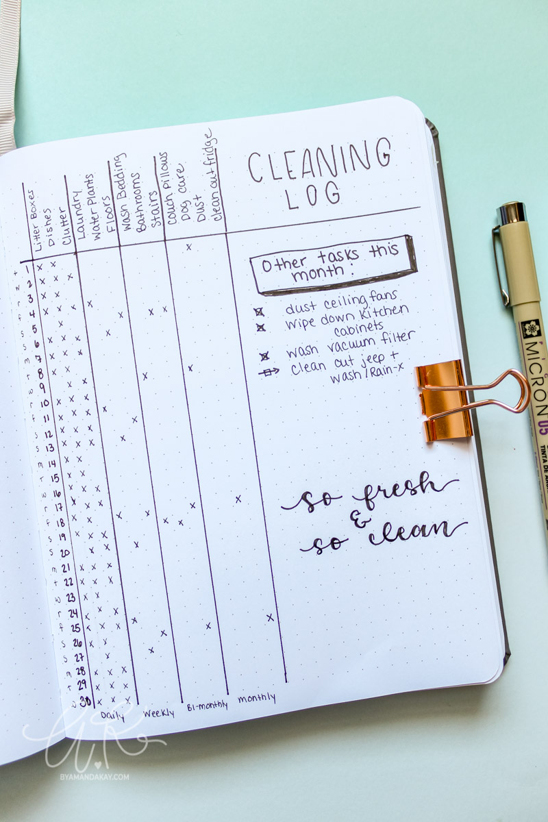 minimalist cleaning tracker for bullet journal