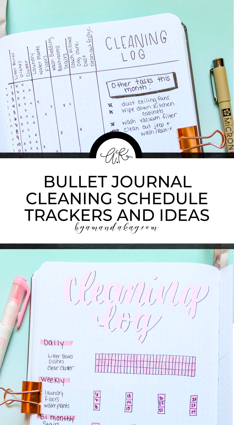 bullet journal cleaning schedule ideas long pin collage