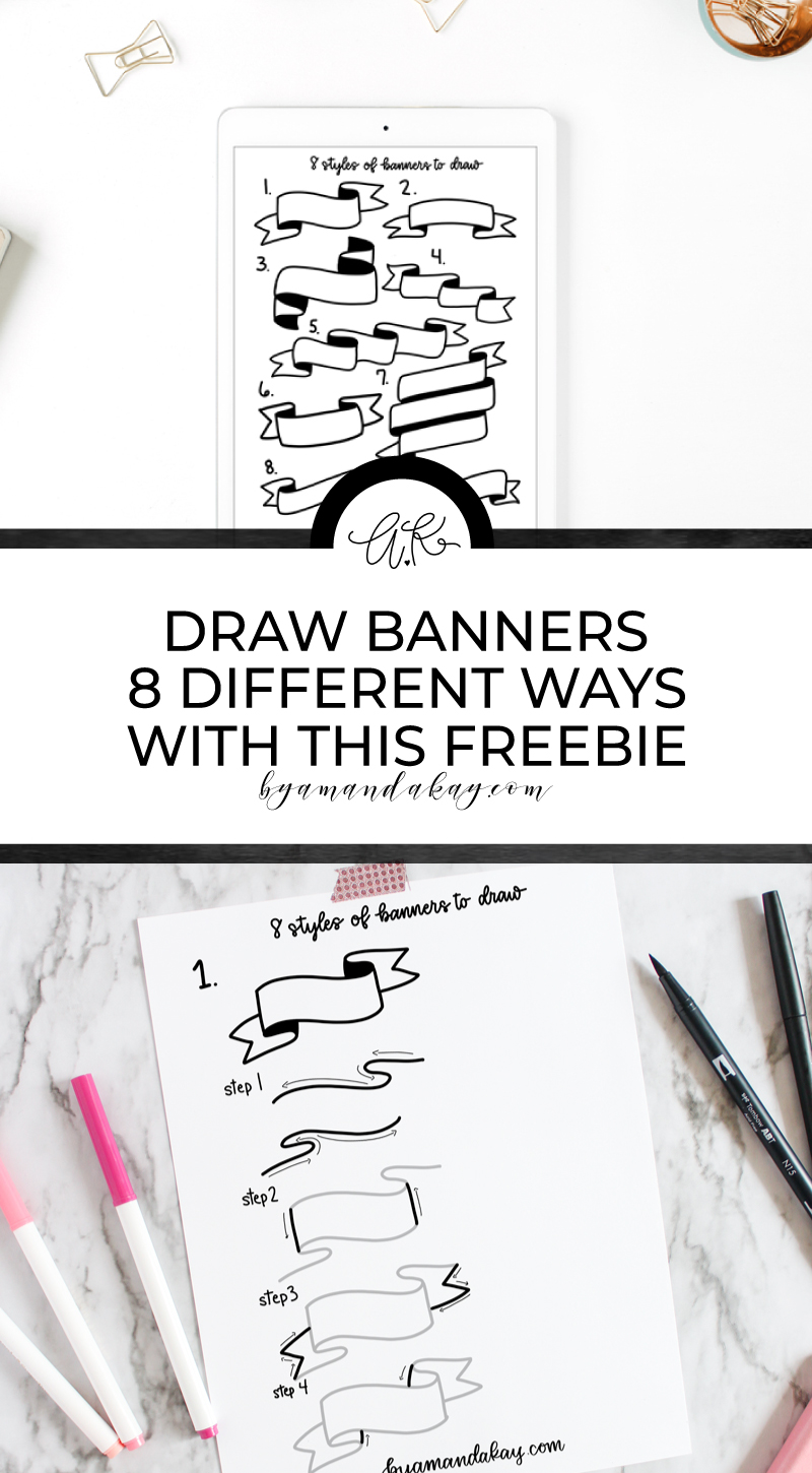 Long collage style pin image how to draw banners