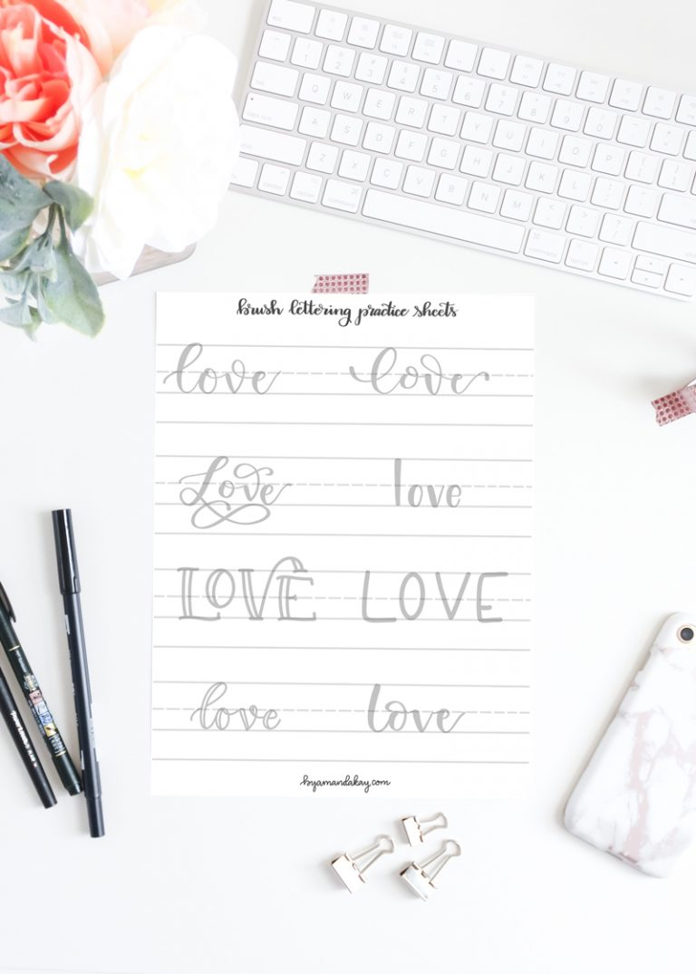 Love Words Lettering Practice Sheets