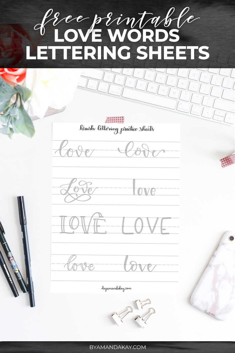 Love words free printable practice sheets cover