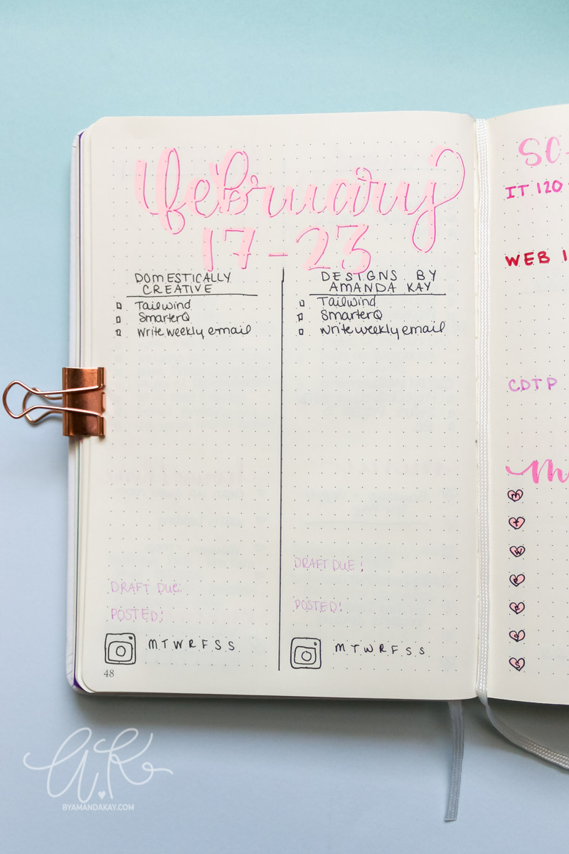 Master to do list for bullet journal weekly spread