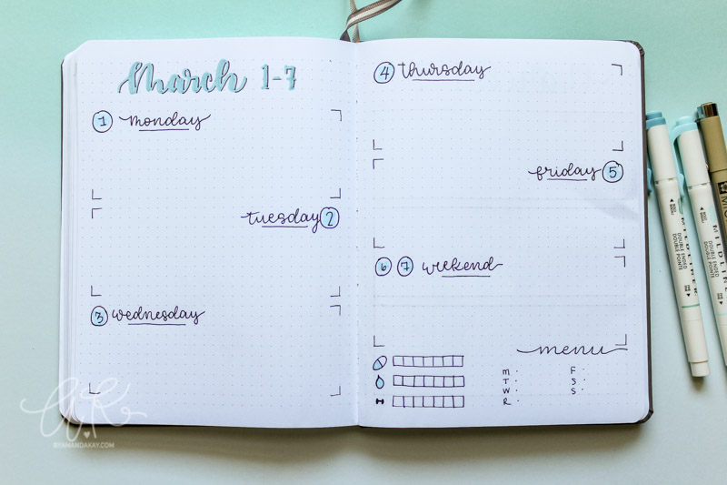 minimalistic horizontal boxes weekly layout for bujo