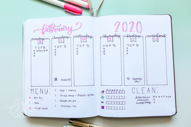 Minimalistic vertical boxes weekly layout for bullet journal