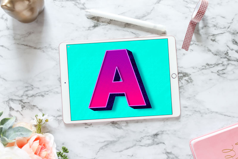 finished 3d block letter A on ipad