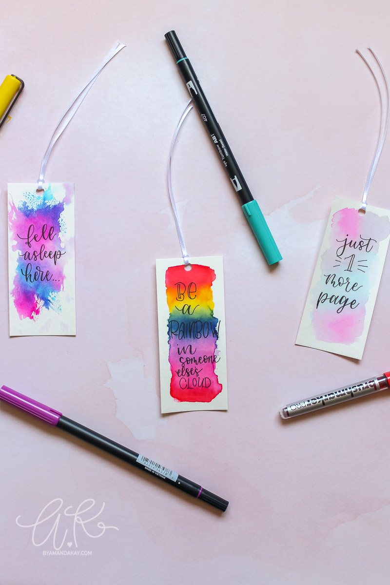 final overhead watercolor bookmarks