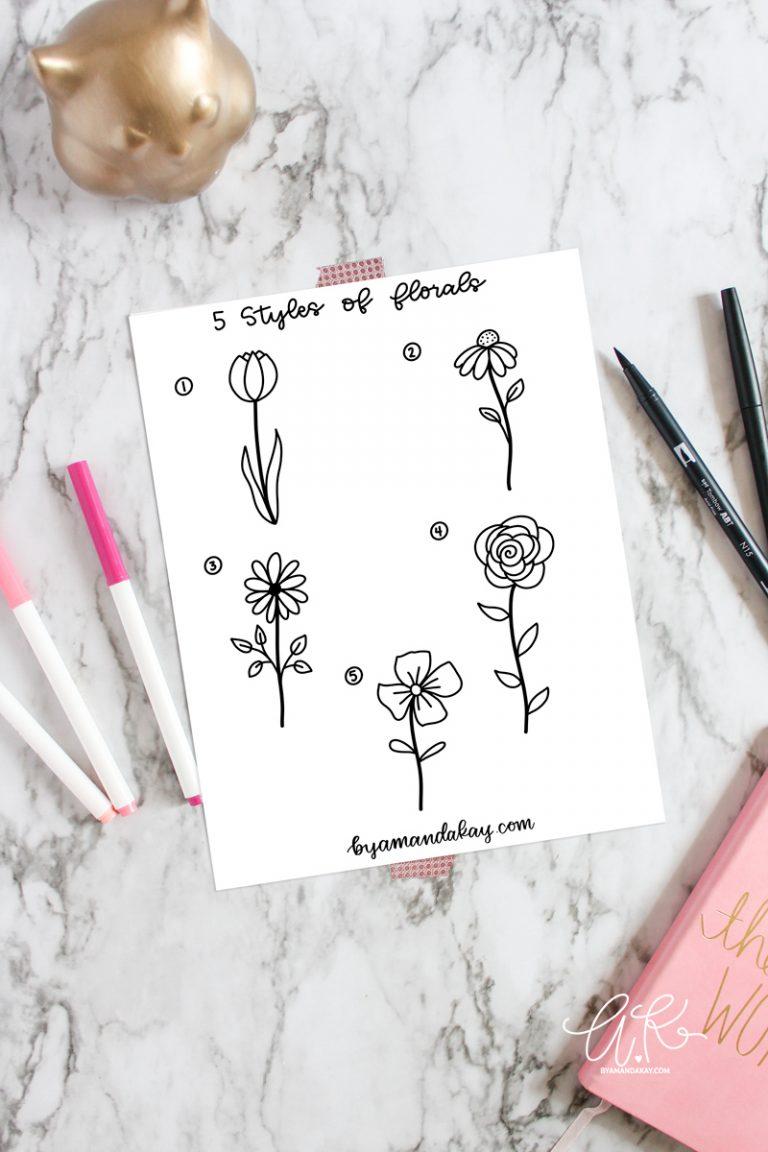 5 Styles of Floral Doodles Free Printable Worksheet