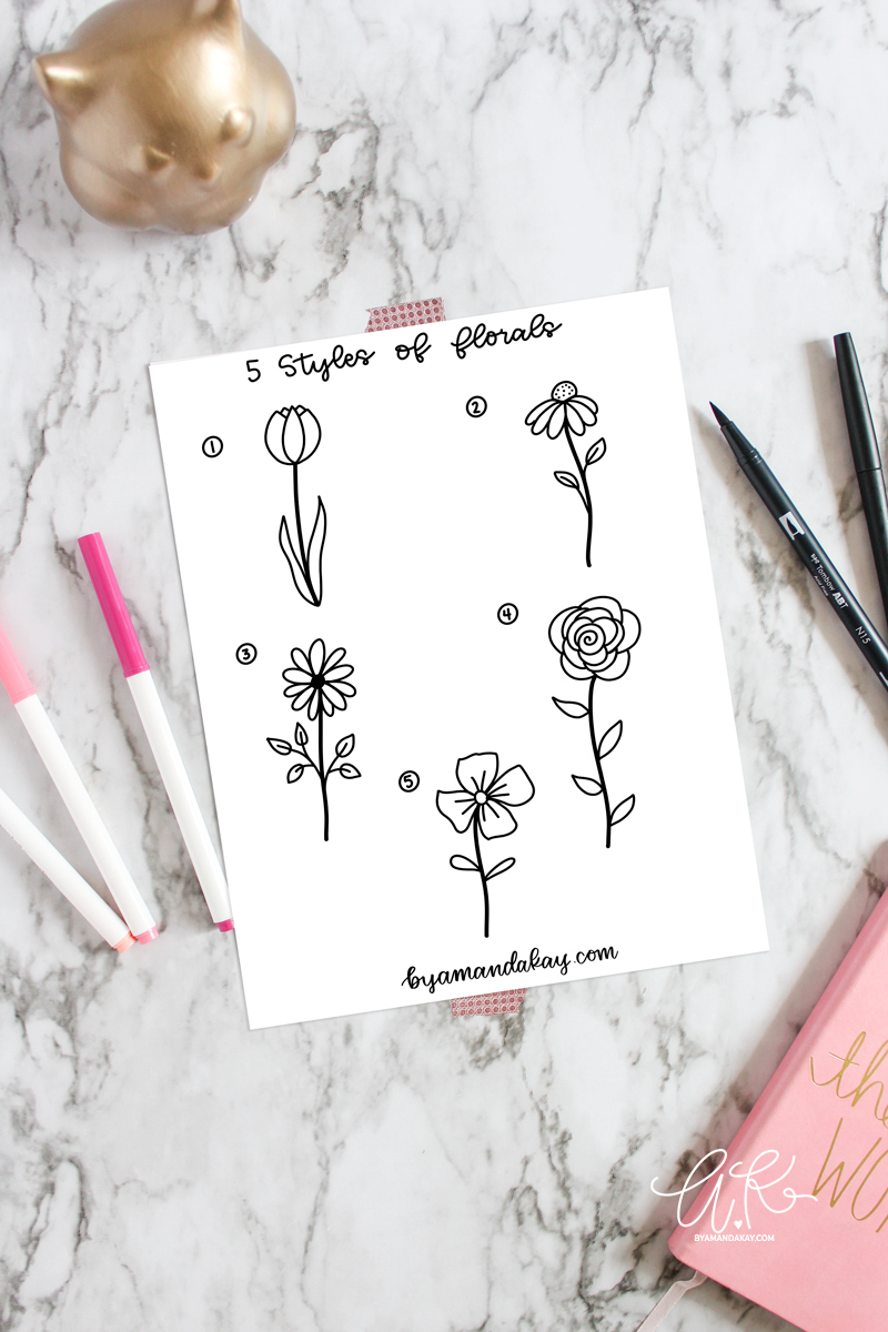Paper on marble desk mockup with 5 styles of floral doodles