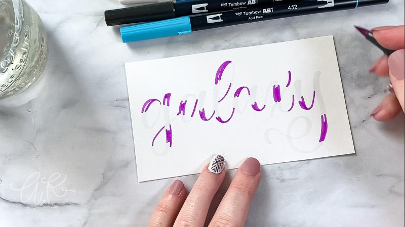 Purple color placed randomly over galaxy words