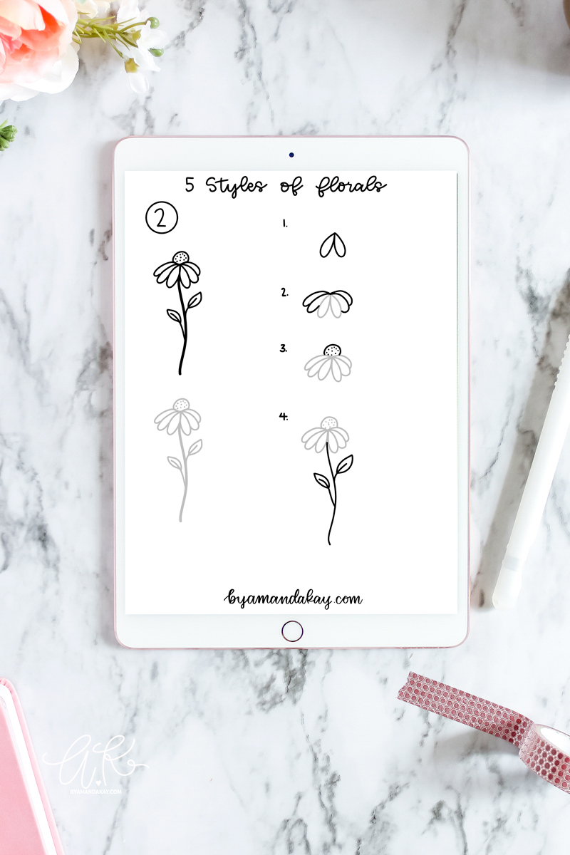 iPad with floral doodle practice sheet with step by step drawings