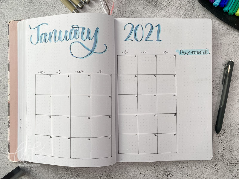 Monthly spread for January 2021