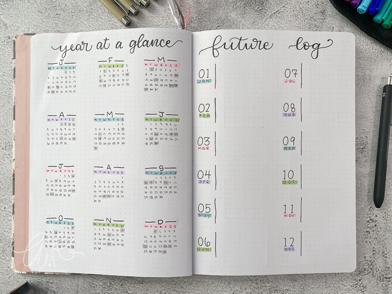 bullet journal 2021 year at a glance and future log