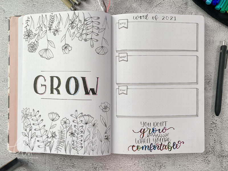 2021 bullet journal word of the year grow