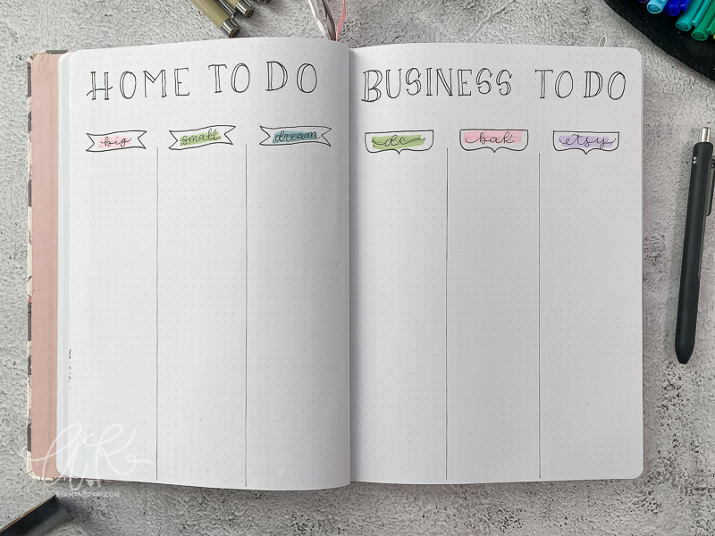 home and business master to do list bullet journal spread