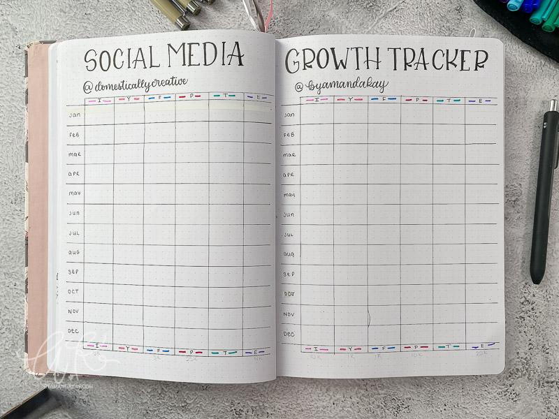 social media growth tracker bujo