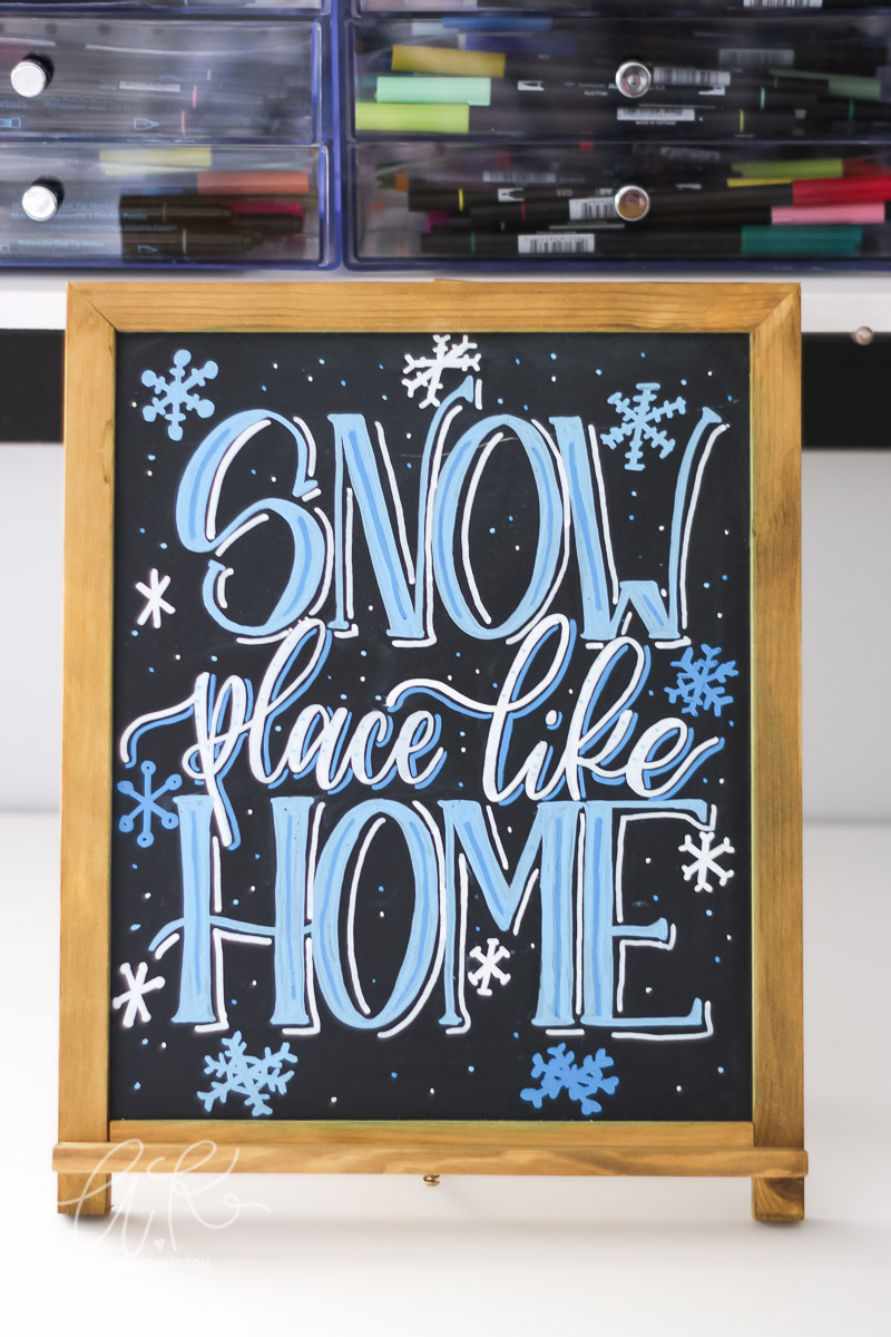 snow place like home finished chalkboard on desk