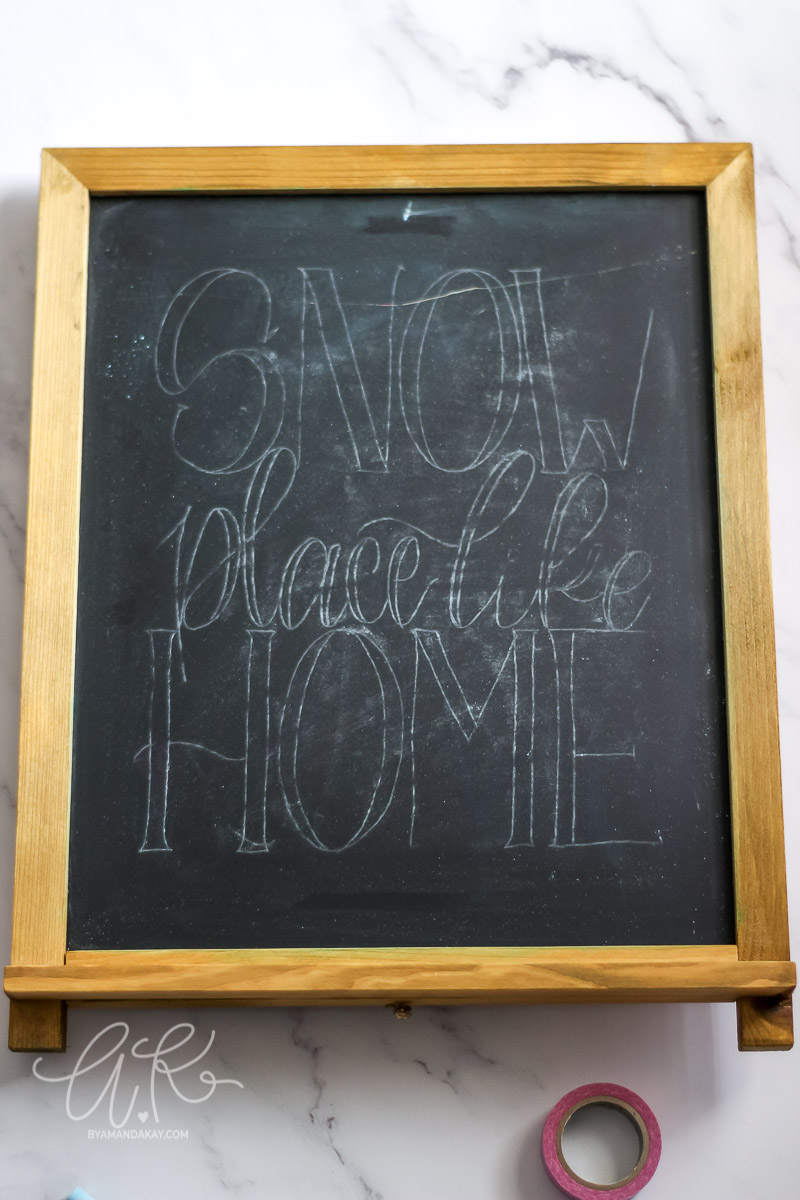 Transferred design outline on chalkboard