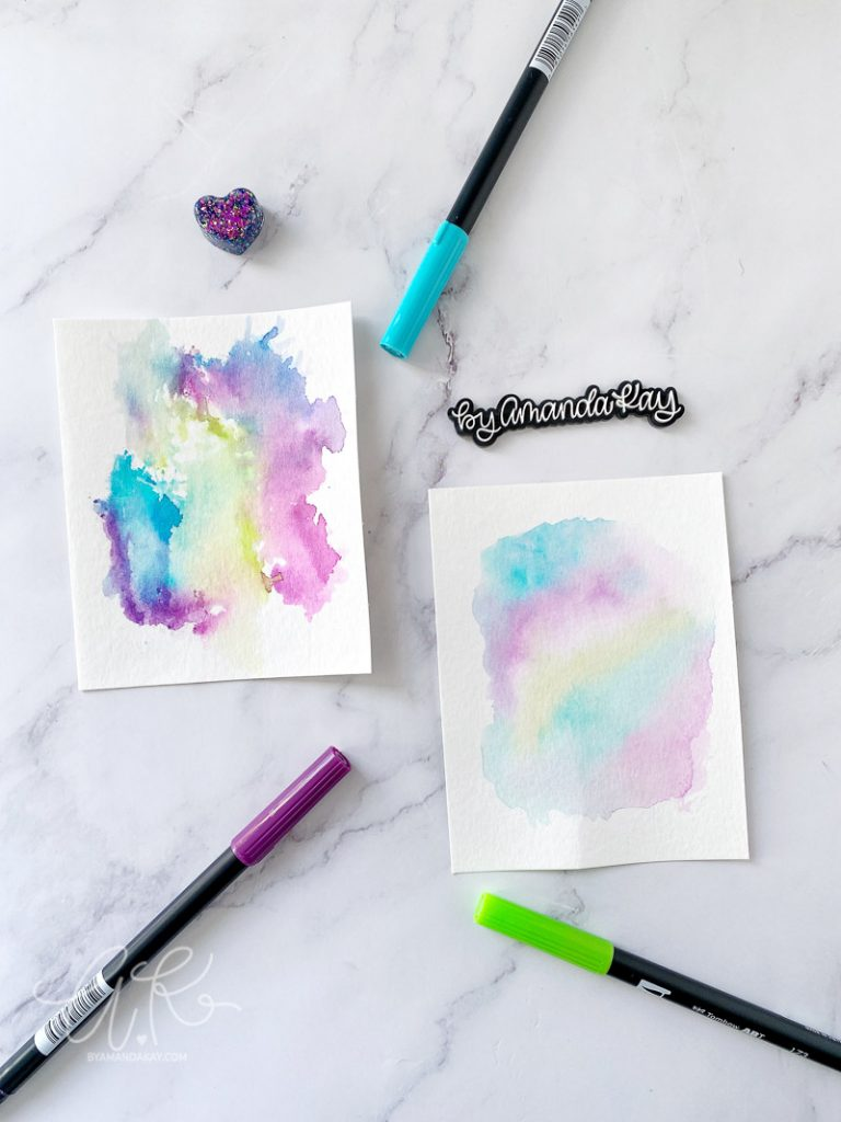 Simple Watercolor Backgrounds with Tombow Dual Brush Pens