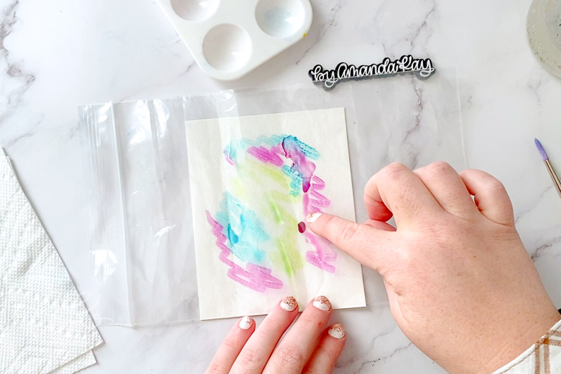 Watercolor smooshing technique